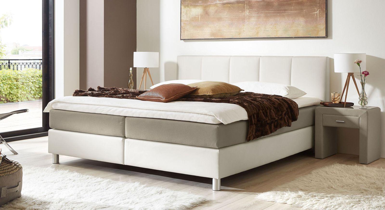 53 cm hohes Boxspringbett Greenwood aus weißem Kunstleder und taupefarbenem Stoff