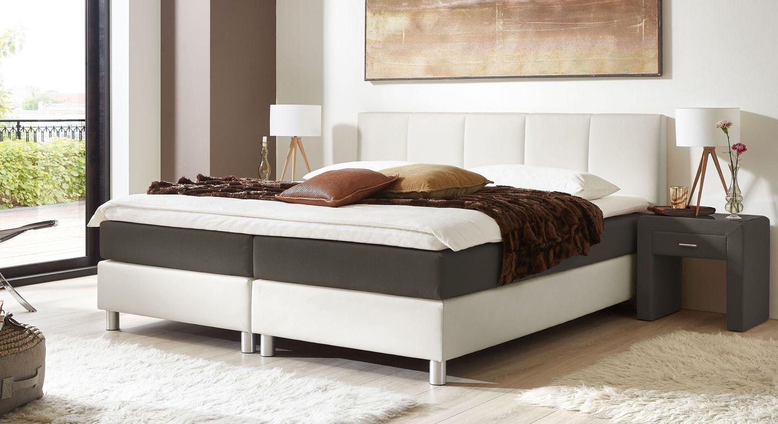 53 cm hohes Boxspringbett Greenwood aus weißem Kunstleder und anthrazitfarbenem Stoff