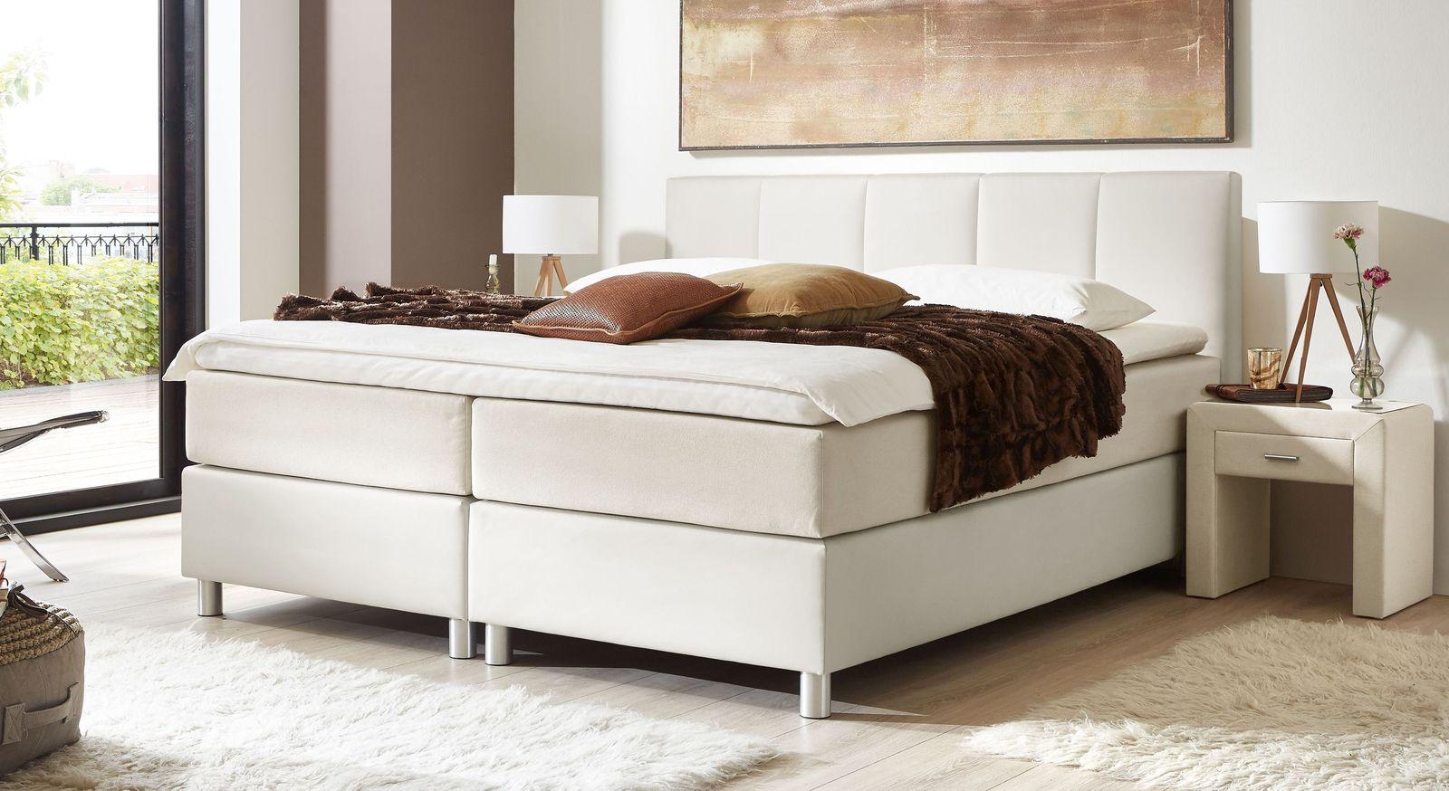 66 cm hohes Boxspringbett Greenwood aus weißem Kunstleder und cremefarbenem Stoff