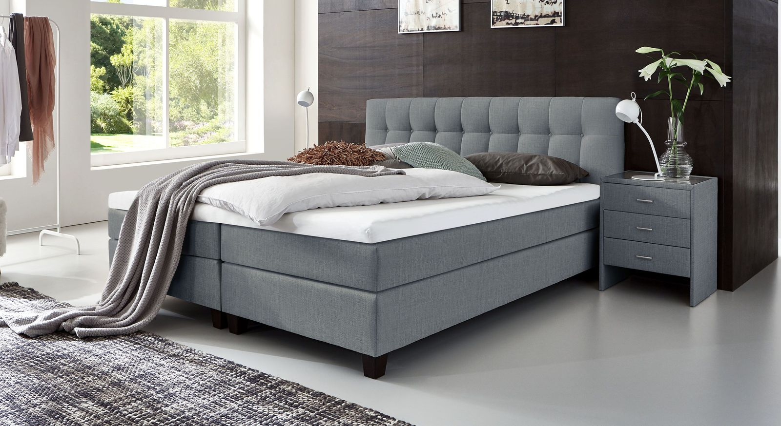 53 cm hohes Boxspringbett Luciano aus meliertem Webstoff in Blaugrau