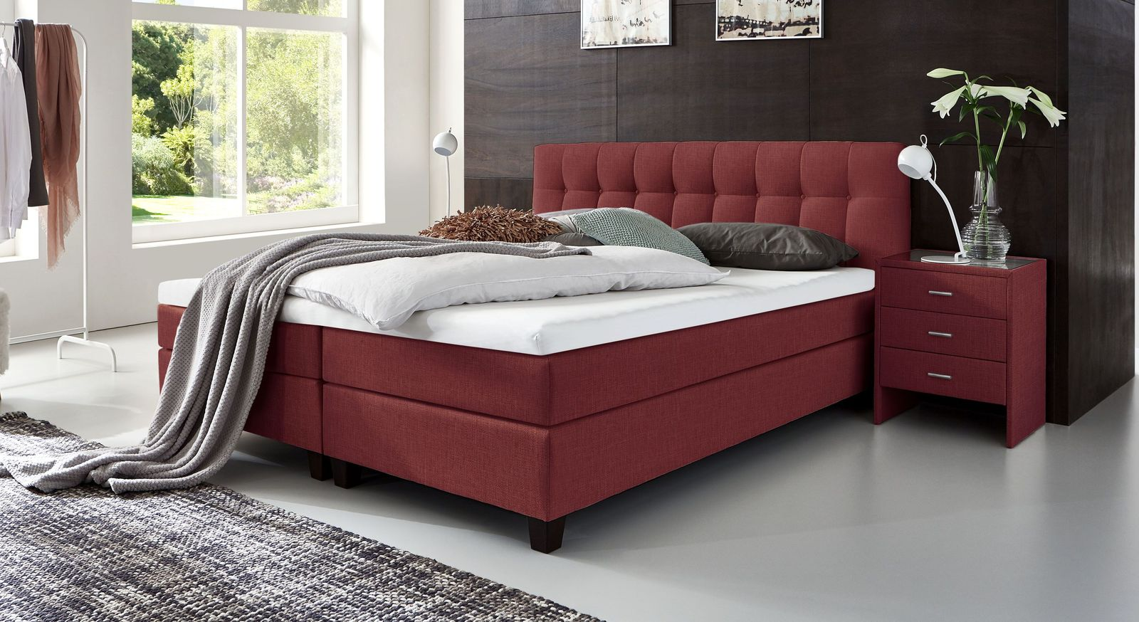 53 cm hohes Boxspringbett Luciano aus meliertem Webstoff in Rot