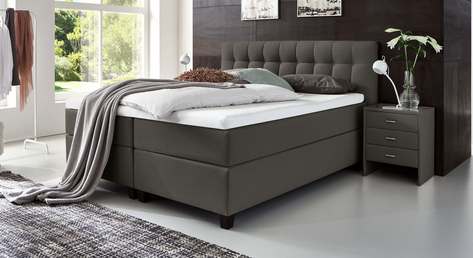 66 cm hohes Boxspringbett Luciano aus Webstoff in Anthrazit