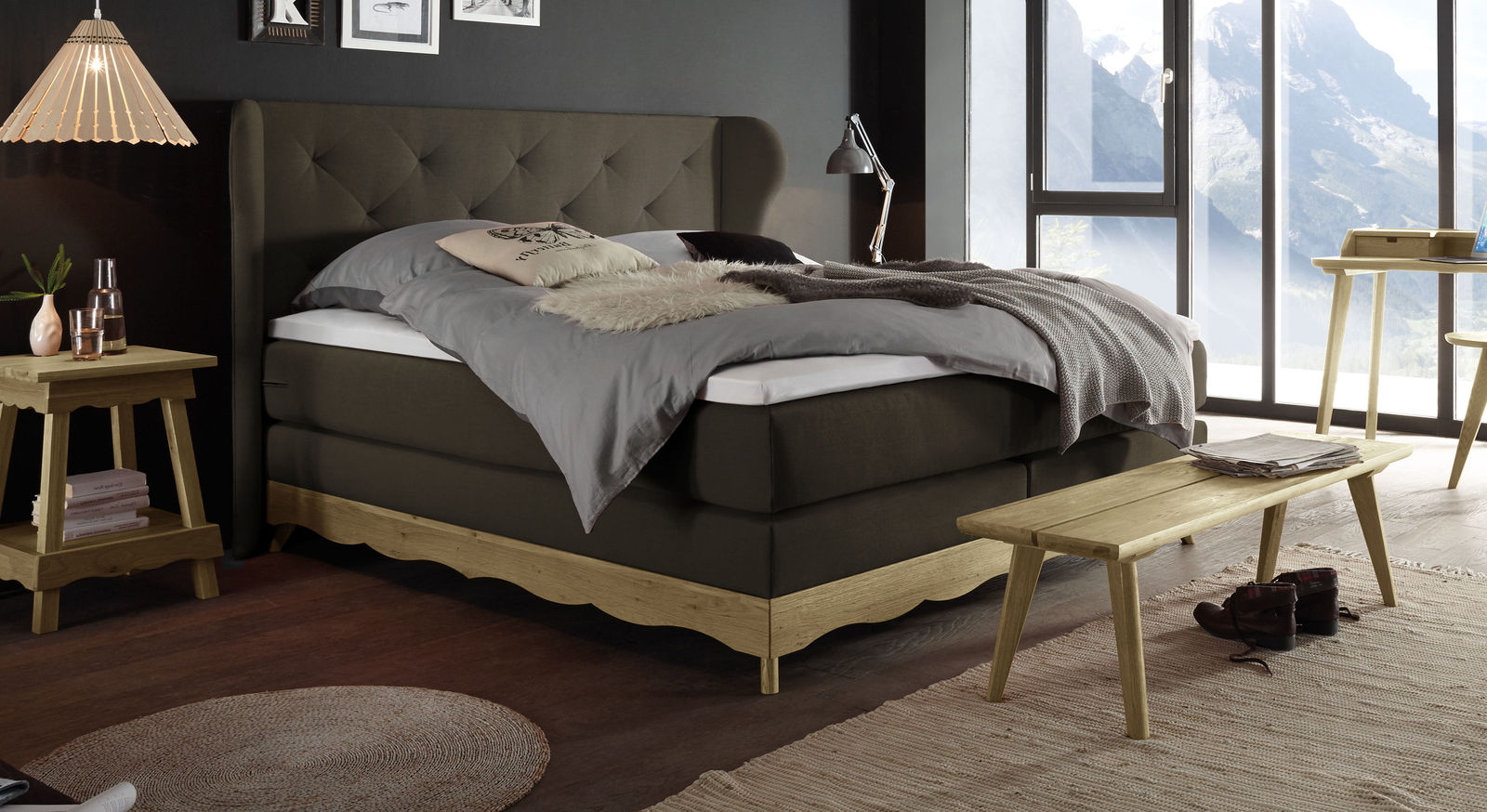Boxspringbett Muanda mit Samtvelours in Braun