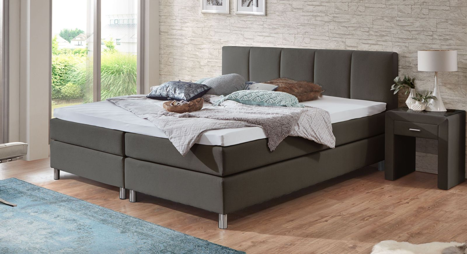 53 cm hohes Boxspringbett Rockford aus anthrazitfarbenem Webstoff
