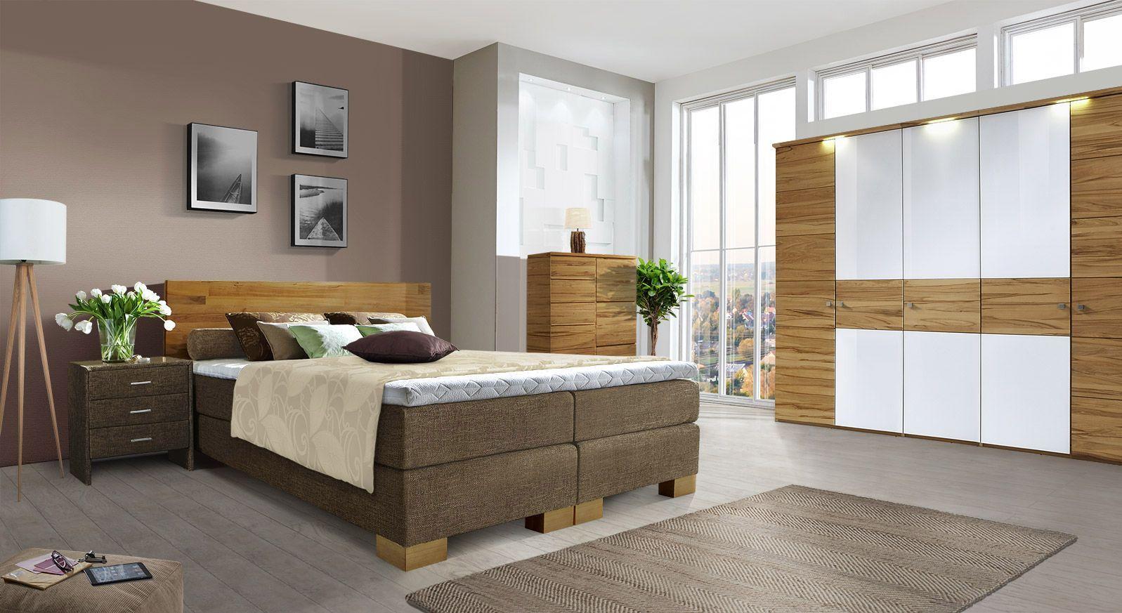 Komplett-Schlafzimmer mit Boxspringbett Salvatore in Braun