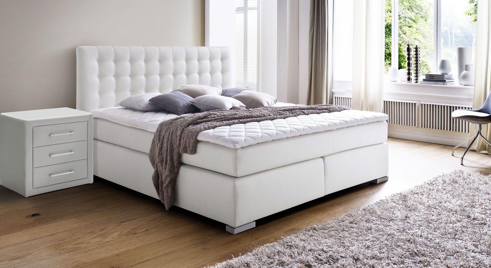 Boxspringbett Taimea aus weißem Kunstleder