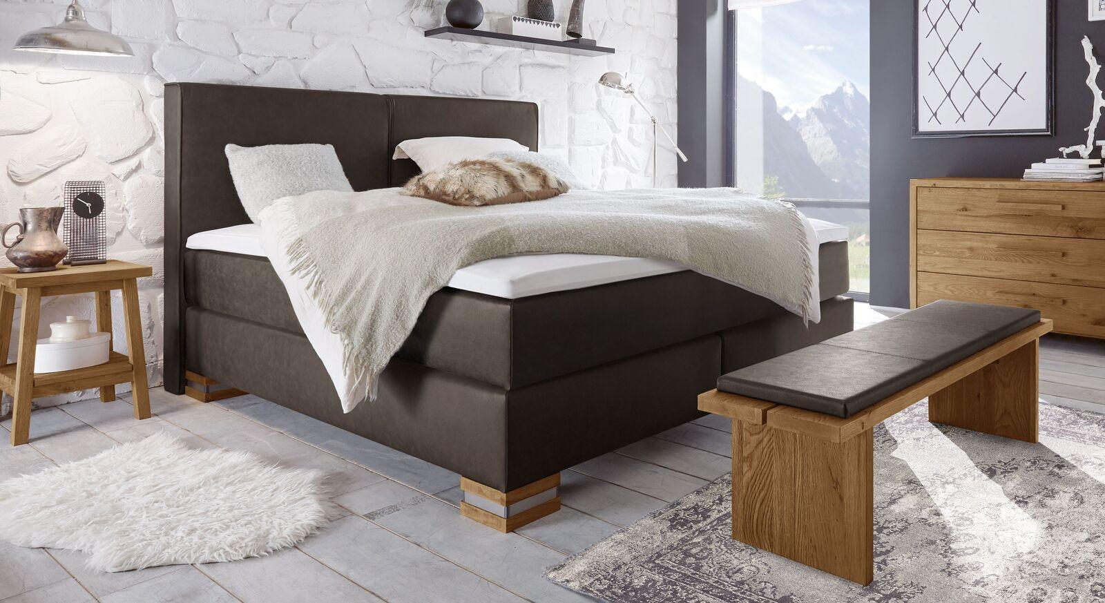 Boxspringbett Tholen mit einem Luxuskunstleder-Matratzenbezug