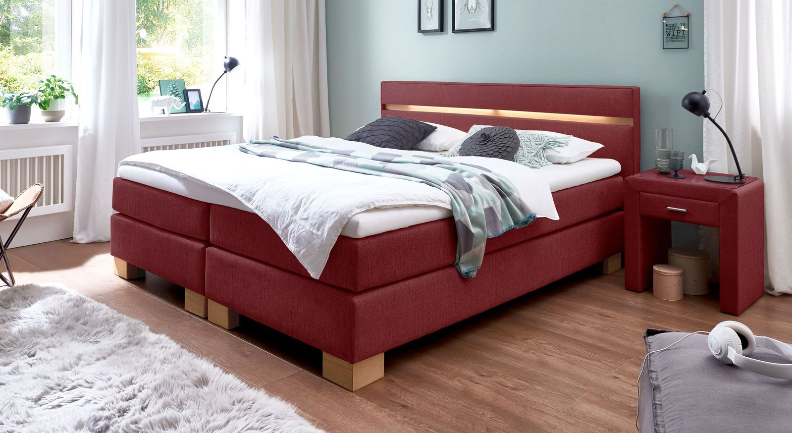 53 cm hohes Boxspringbett Vincenzo aus meliertem Webstoff in Rot