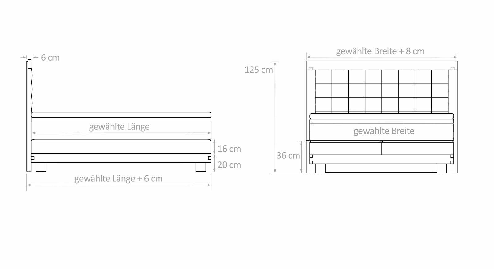 Boxspringbett Viterbus mit Bemaßungs-Grafik