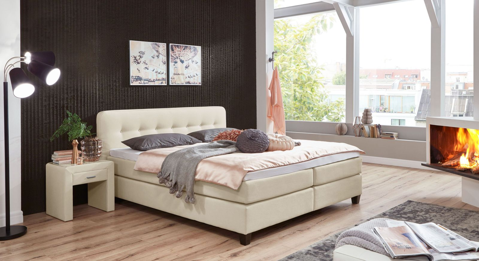 Boxspringbett Westport mit passenden Schlafzimmermöbeln