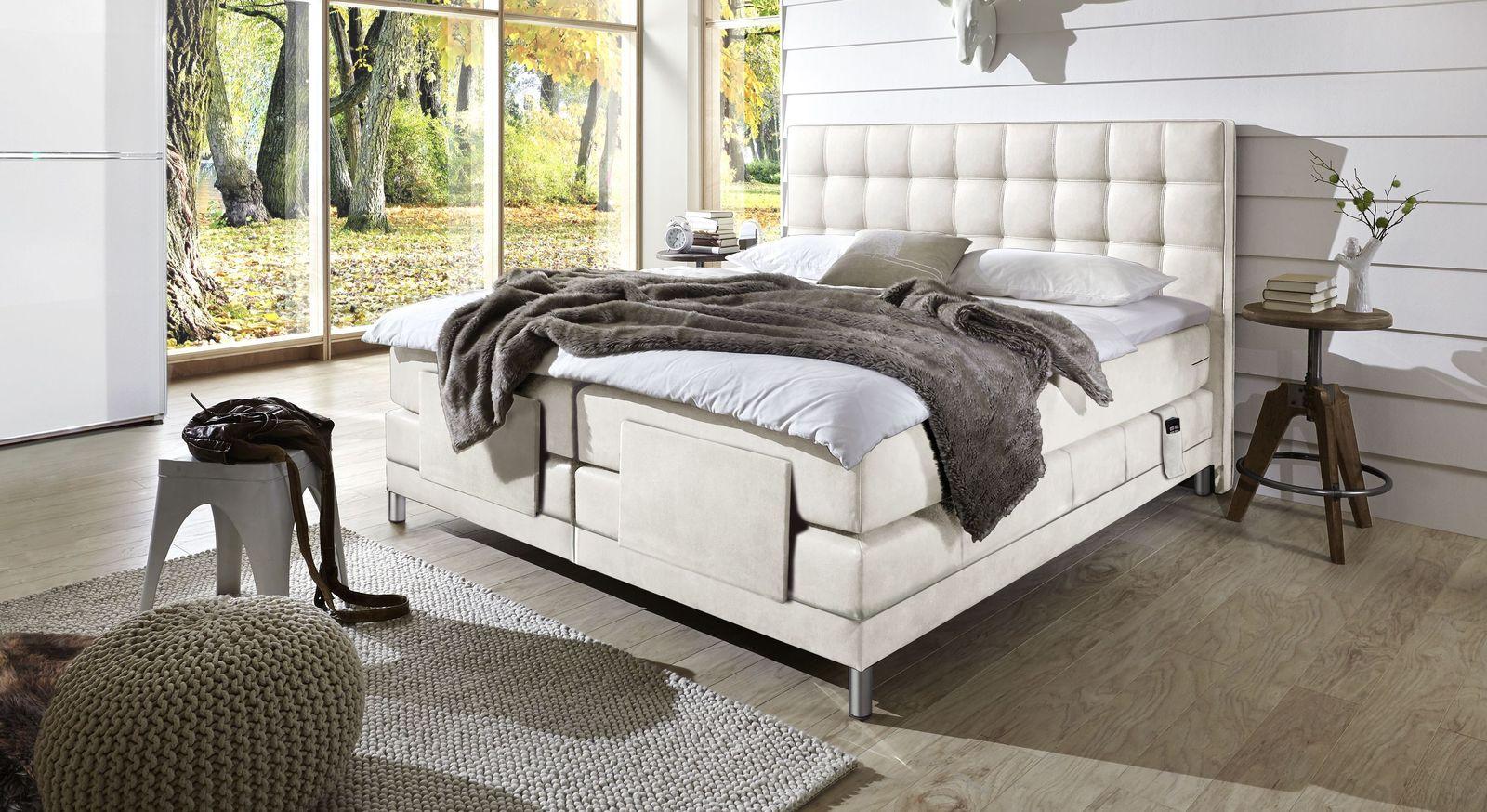 Boxspringbett Zamora Elektro mit Luxus-Kunstlederbezug in Weiß