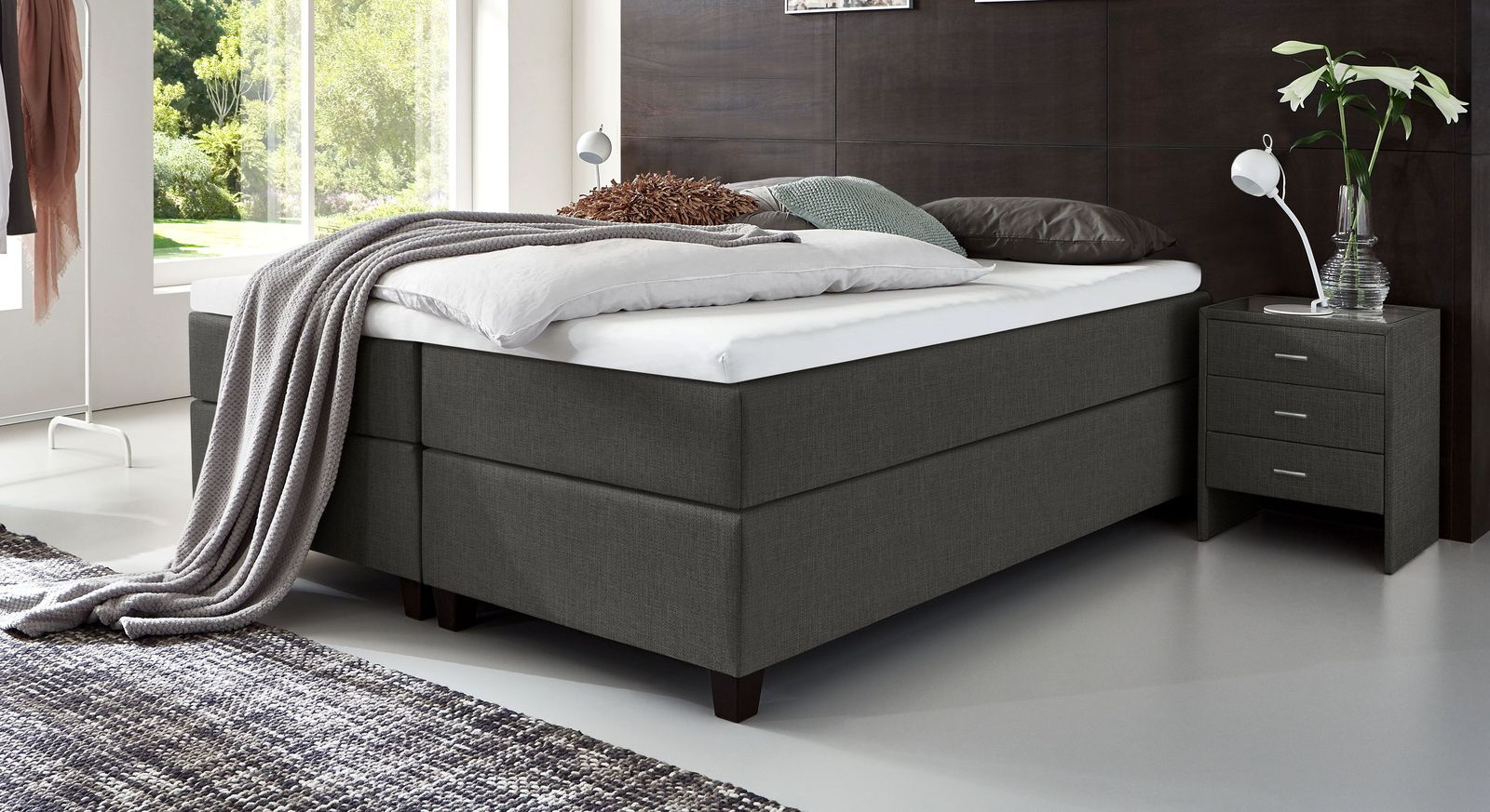 66 cm hohe Boxspringliege Luciano aus meliertem Webstoff in Anthrazit