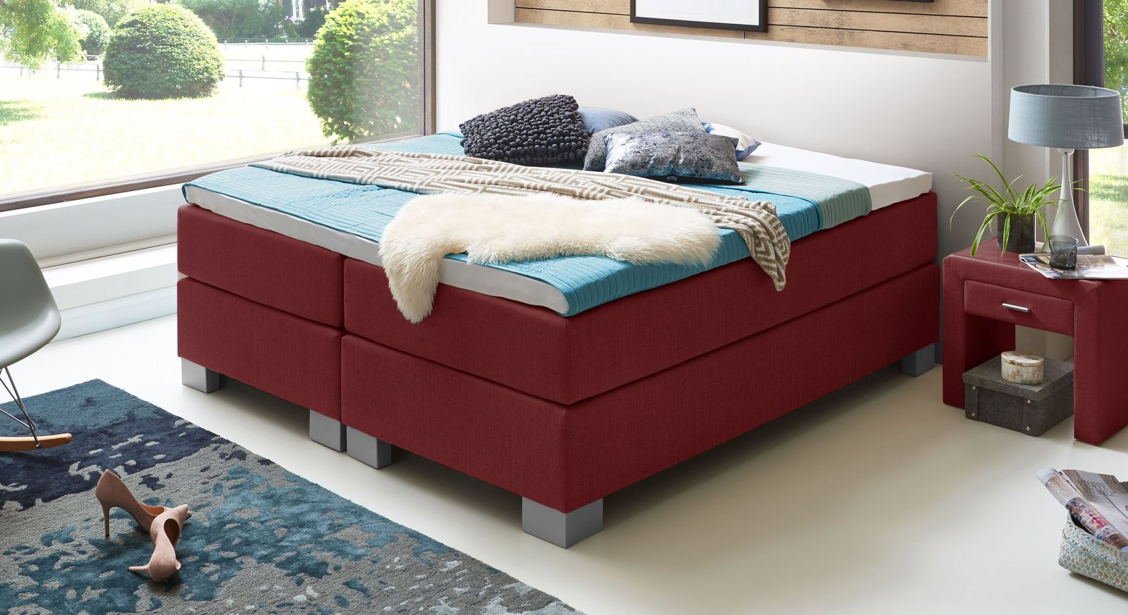 66 cm hohe Boxspringliege Puebla aus meliertem Webstoff in Rot