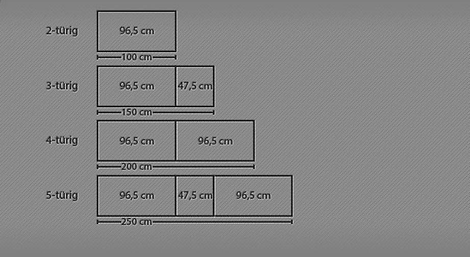 Grafik zur Breitenansicht des Drehtüren-Kleiderschranks Temara