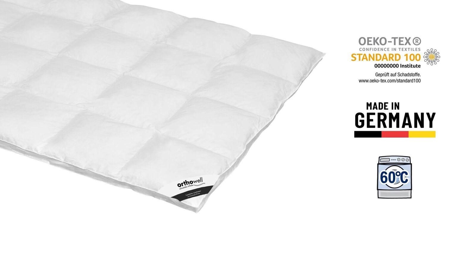 Zertifizierte Daunen-Bettdecke orthowell Standard extra warm
