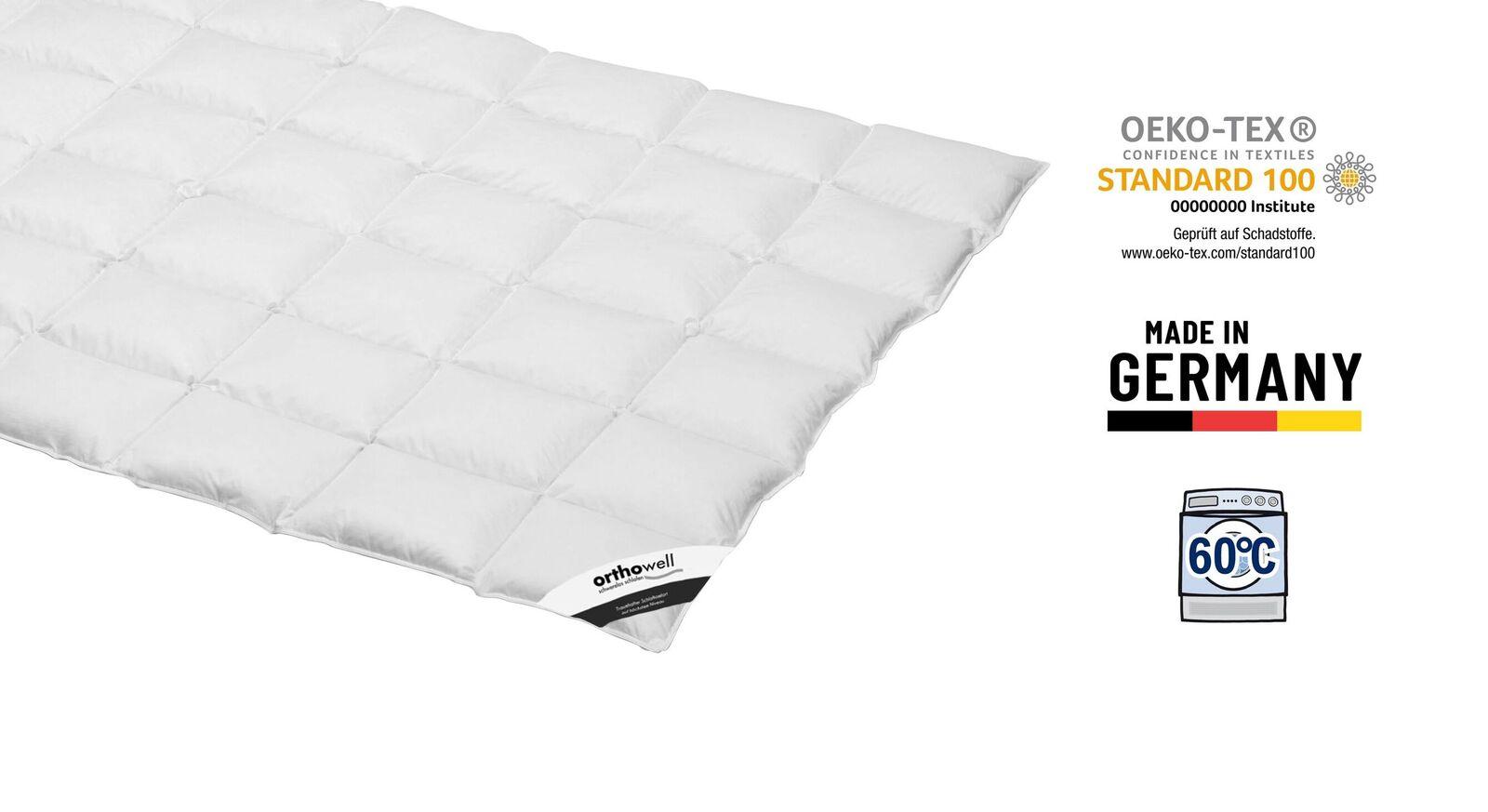 Zertifizierte Daunen-Bettdecke orthowell Standard medium