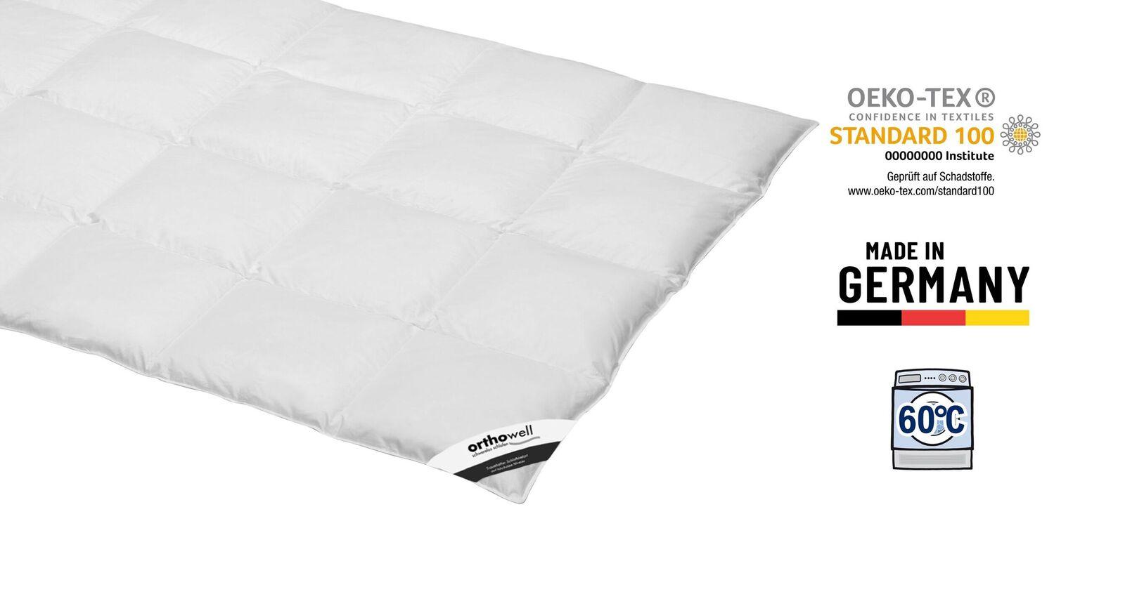 Zertifizierte Daunen-Bettdecke orthowell Standard warm
