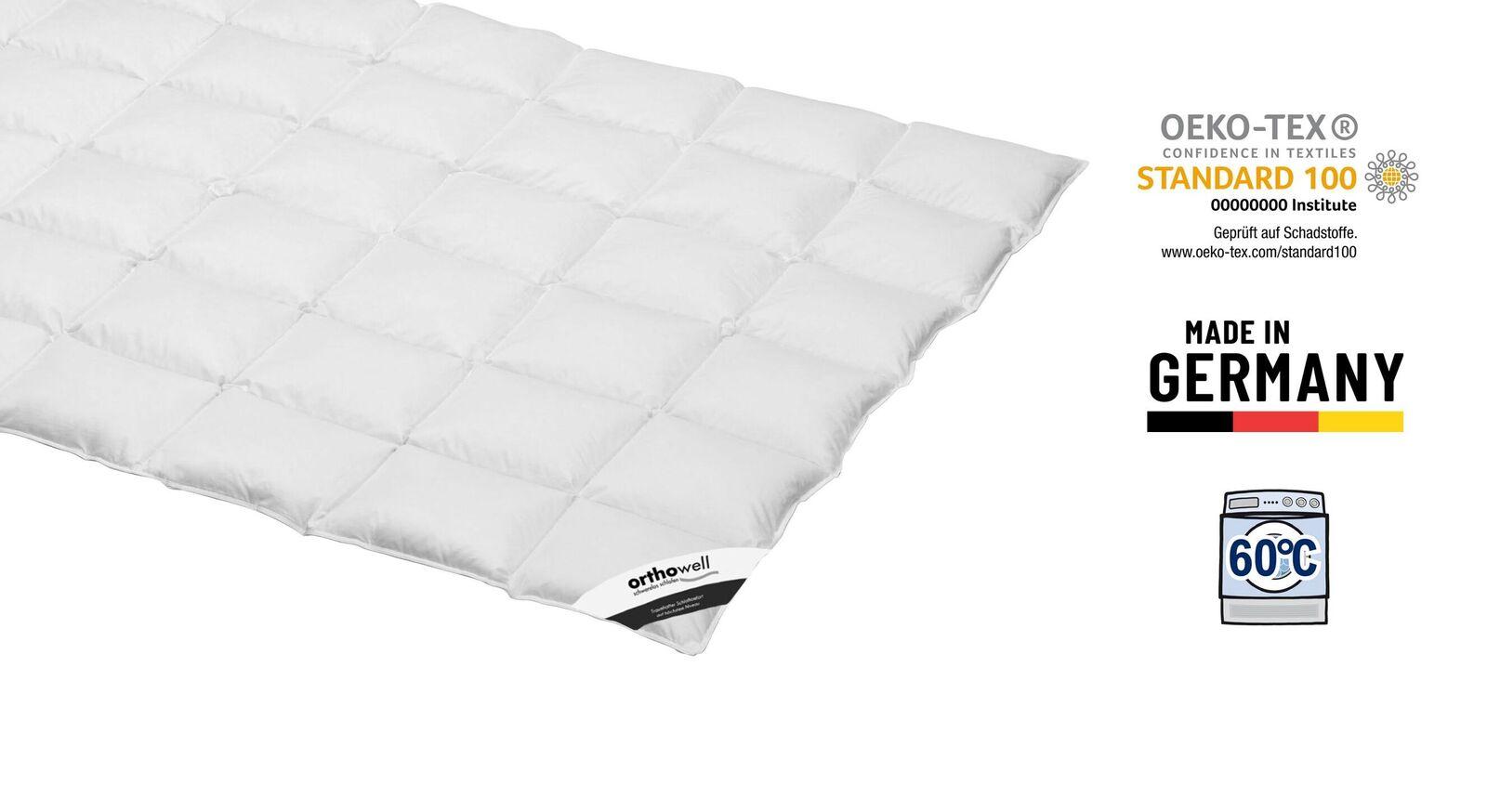 Zertifizierte Daunen-Bettdecke orthowell Superior medium