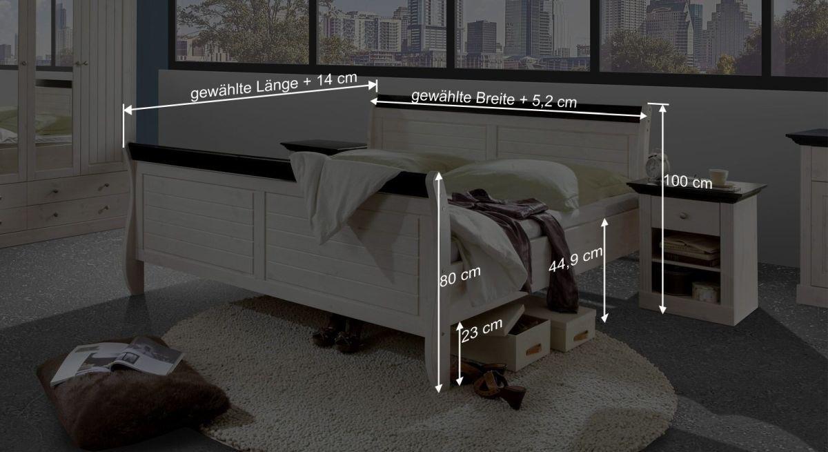 Bemaßungsgrafik zum Doppelbett Imala