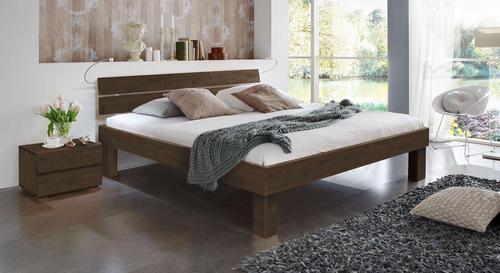 Wengefarbenes Doppelbett Madrid Komfort in 25 cm Höhe