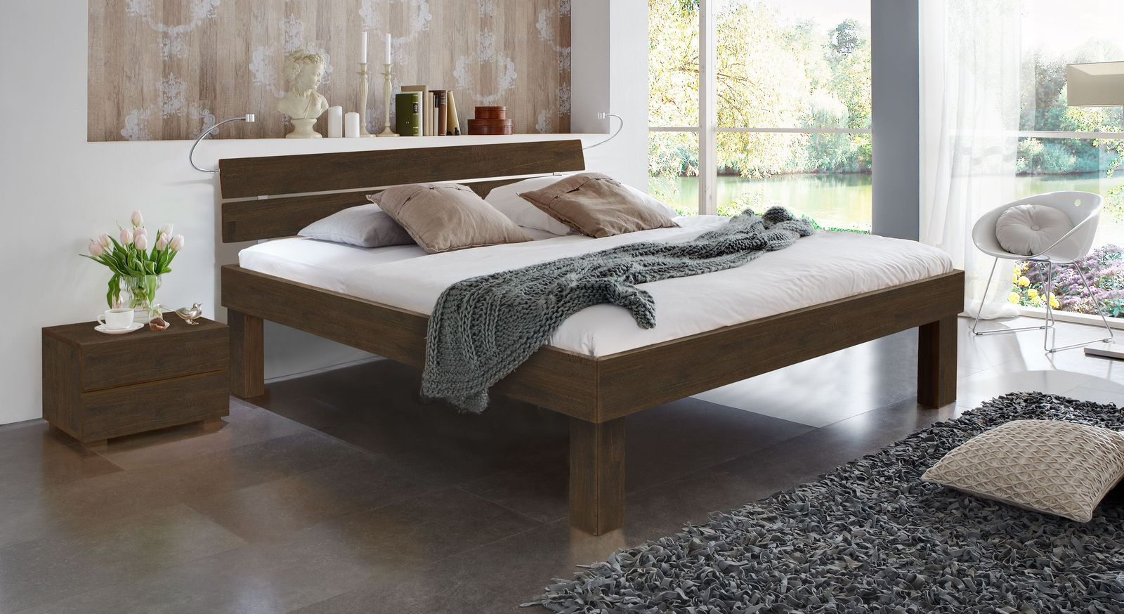 Wengefarbenes Doppelbett Madrid Komfort in 30 cm Höhe