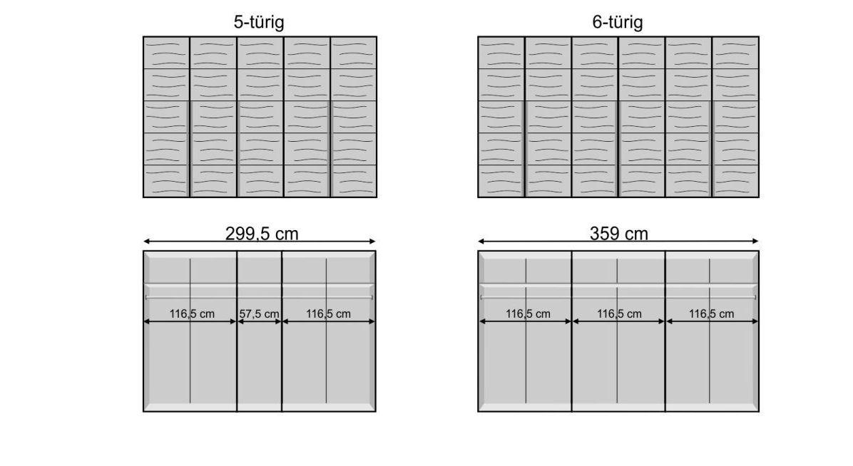 Breite Varianten vom Drehtüren-Kleiderschrank Andalucia