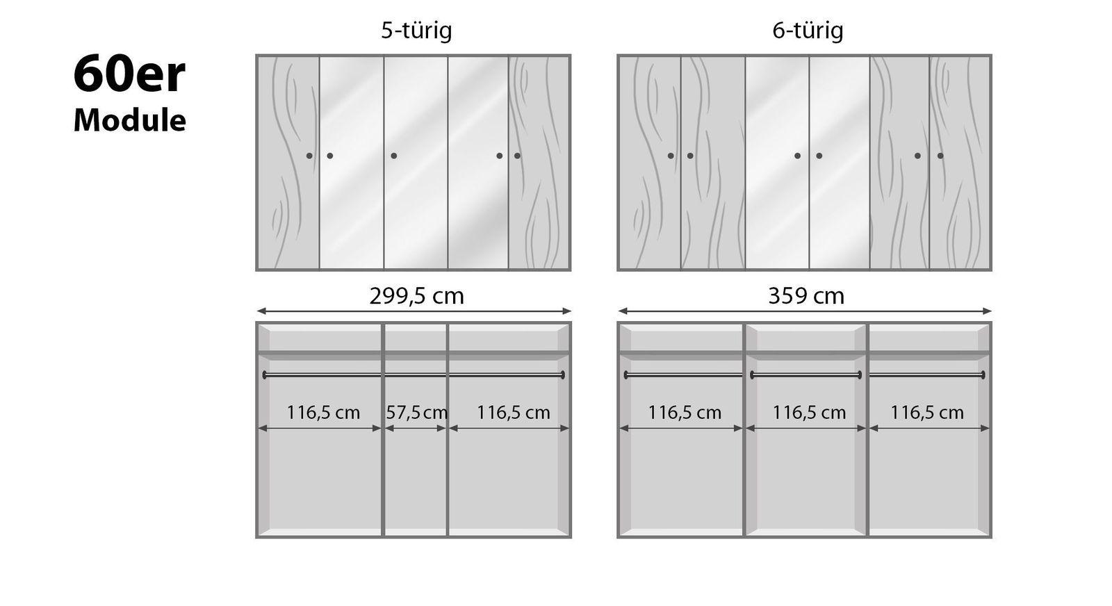 Breite Drehtüren-Kleiderschränke Binita mit 60er Modulen