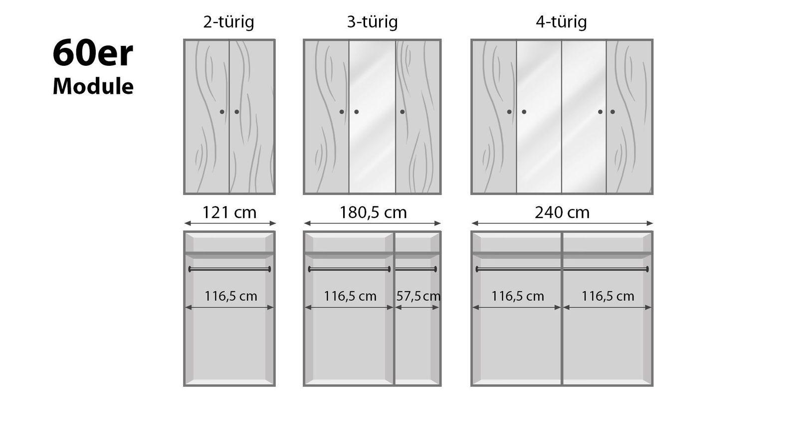 Schmale Drehtüren-Kleiderschränke Binita mit 60er Modulen