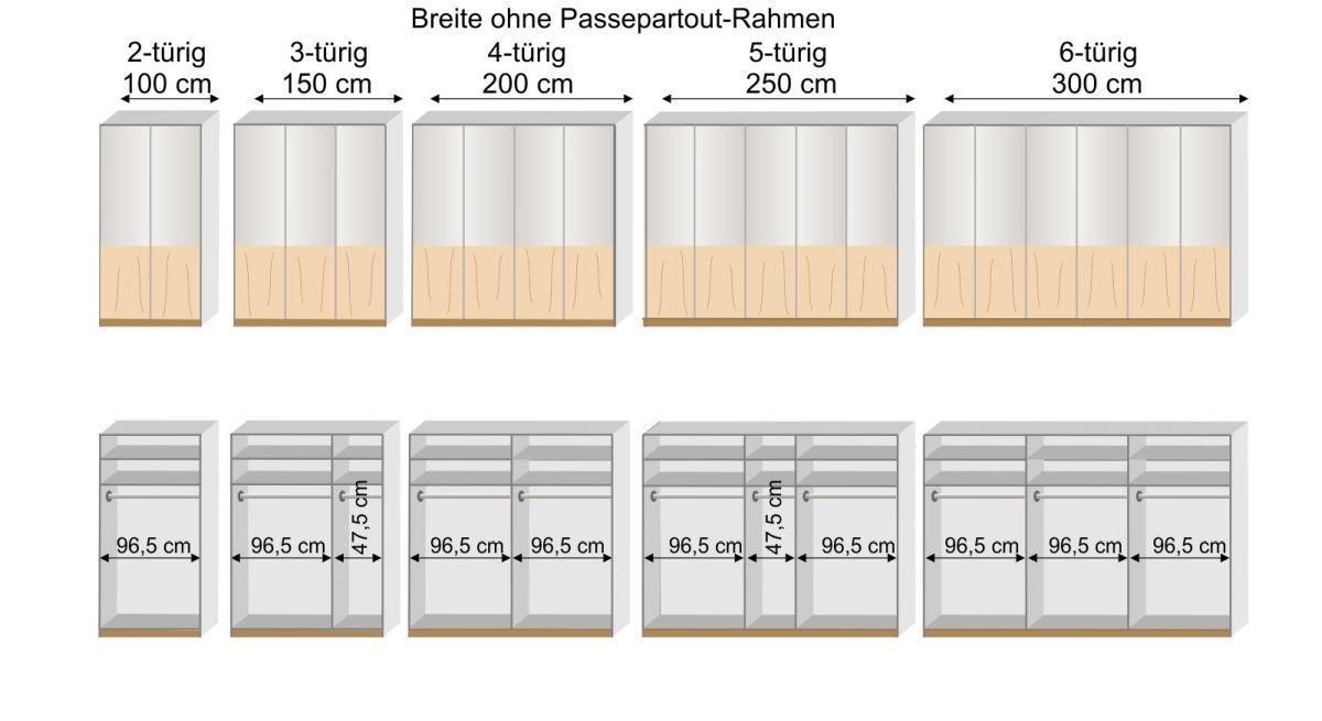 Grafik zur Inneneinteilung des 2-6-türigen Drehtüren-Kleiderschranks Briston