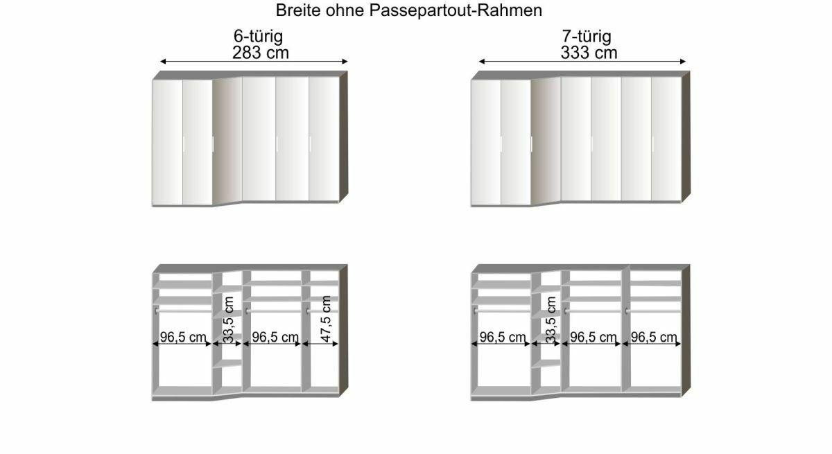 Grafik zur Innenausstattung des 6-7-türigen Drehtüren-Kleiderschranks Evansville