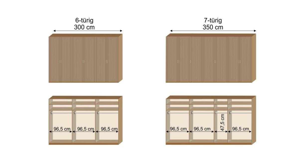 Grafik zur Inneneinteilung des 6- und 7-türigen Drehtüren-Kleiderschranks Herdorf