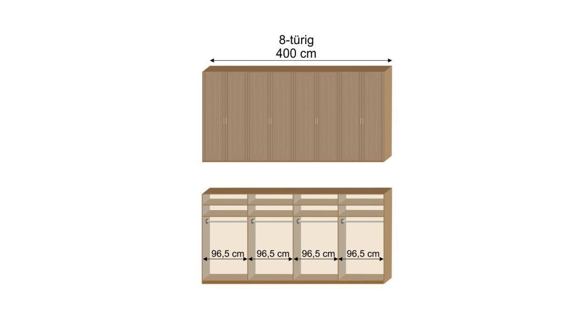 Grafik zur Inneneinteilung des 8-türigen Drehtüren-Kleiderschranks Herdorf