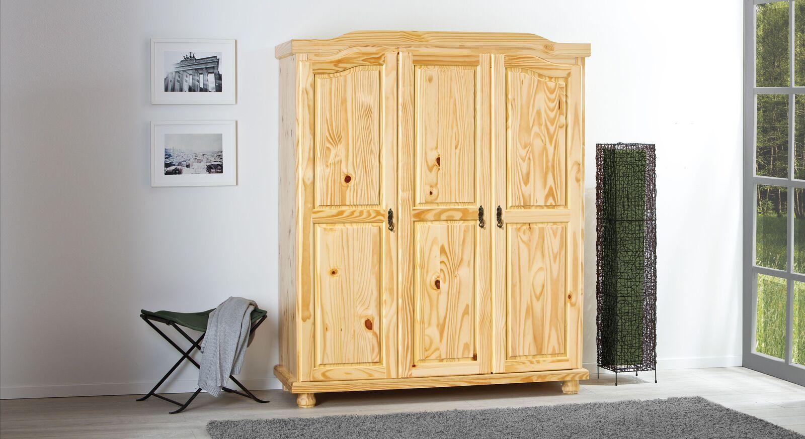 Drehtüren-Kleiderschrank Innsbruck aus natürlichem Kieferholz