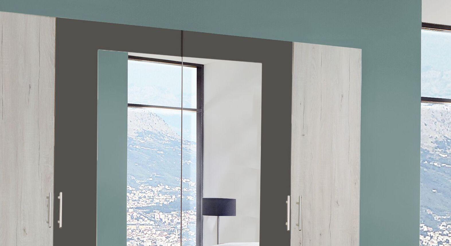 Drehtüren-Kleiderschrank Kemere mit großem Spiegel