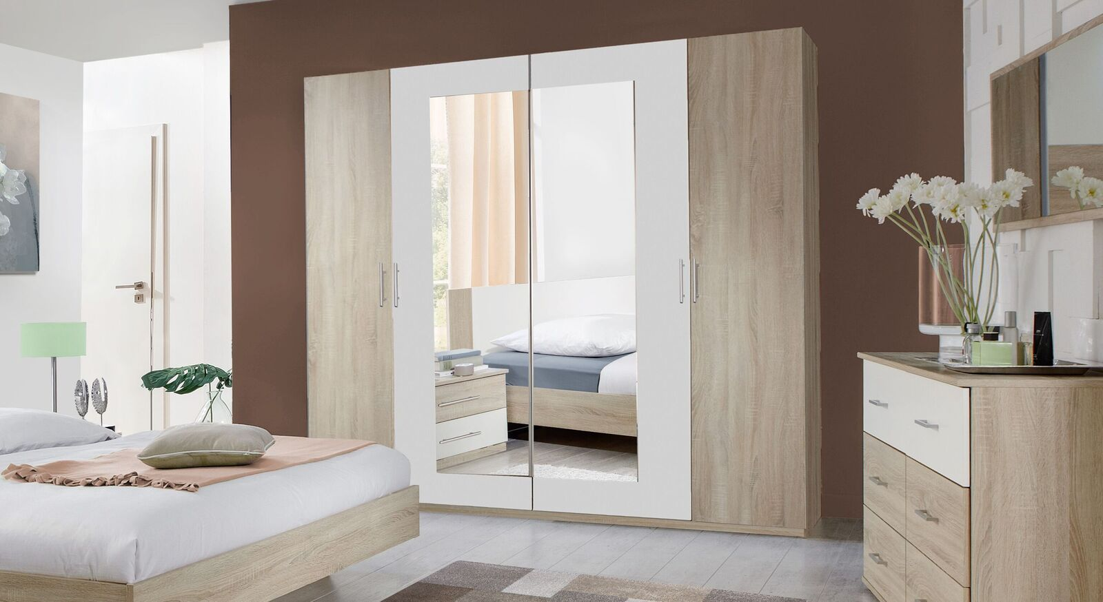 Drehtüren-Kleiderschrank Malwa mit großem Spiegel