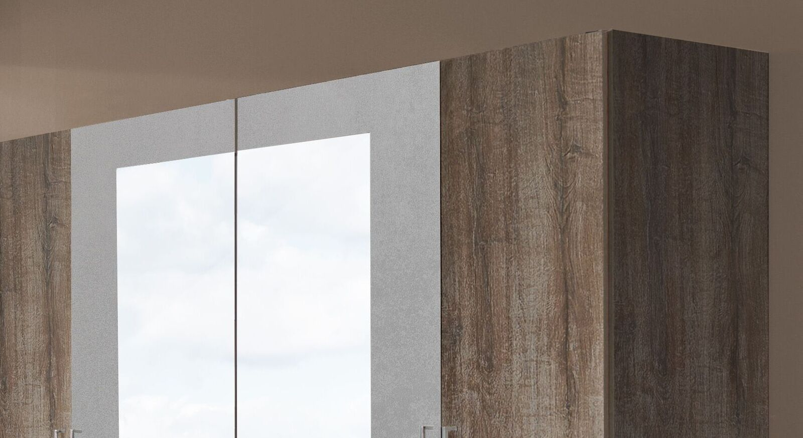 Drehtüren-Kleiderschrank Ovatio in unterschiedlichen Dekoren
