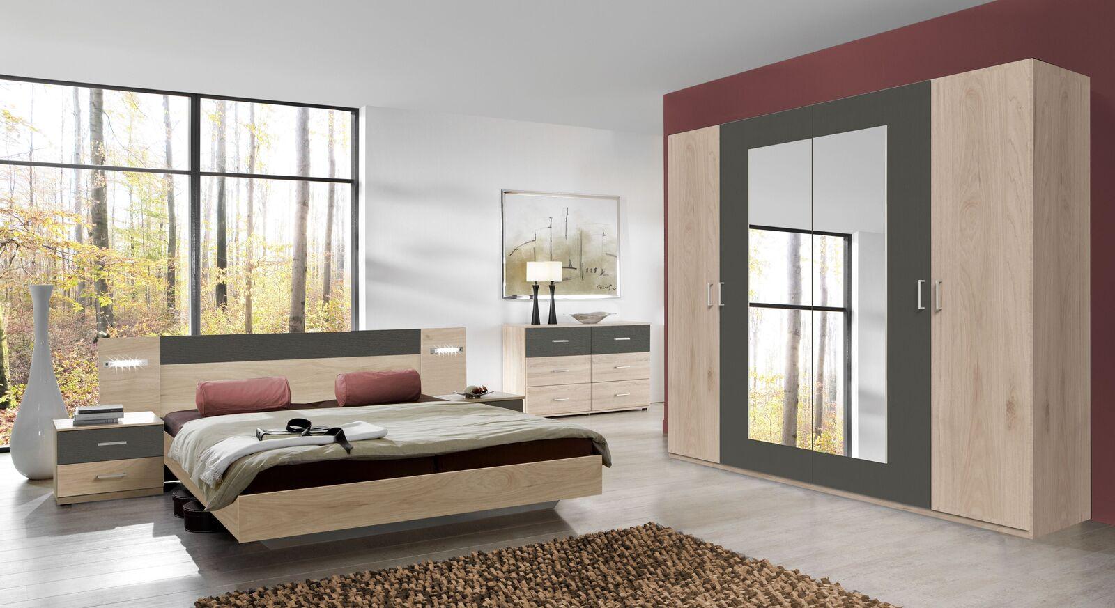 Drehtüren-Kleiderschrank Pahoa mit passenden Schlafzimmermöbeln