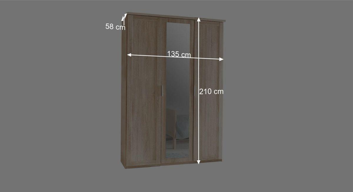 Bemaßungsgrafik zum 3-türigen Drehtüren-Kleiderschrank Sinello