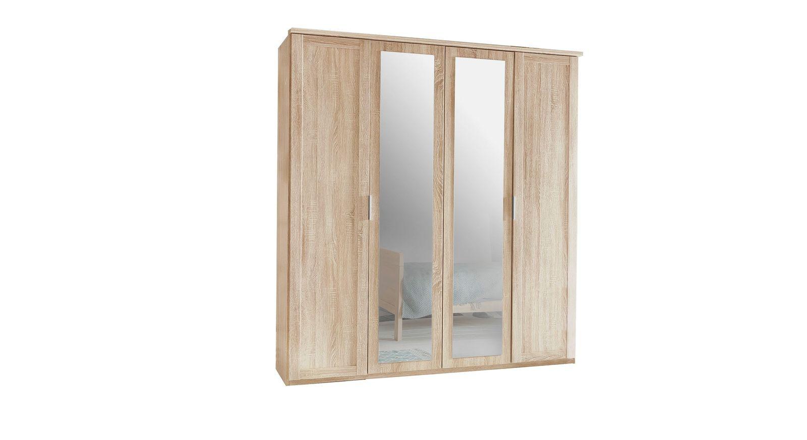 Schlichter Drehtüren-Kleiderschrank Sinello mit 4 Türen
