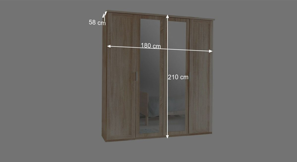 Bemaßungsgrafik zum 4-türigen Drehtüren-Kleiderschrank Sinello
