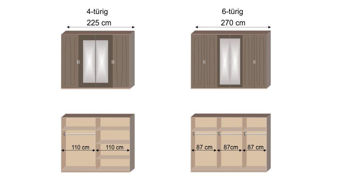 Bemaßungsgrafik zur Inneneinteilung des Drehtüren-Kleiderschranks Sontra