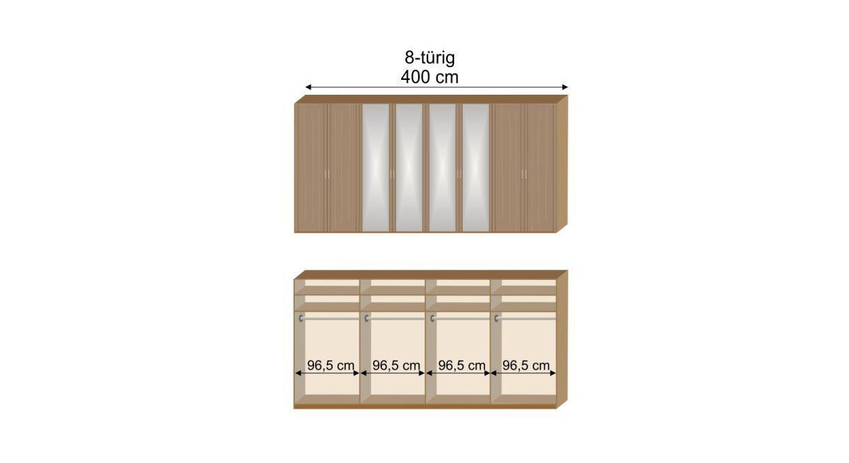 Grafik zur Inneneinteilung des 8-türigen Drehtüren-Kleiderschranks Telford