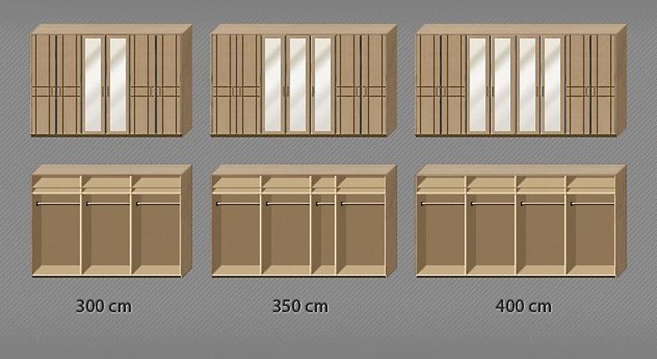Aufteilung von Fächern und Kleiderstangen des Drehtüren-Kleiderschranks Toliara