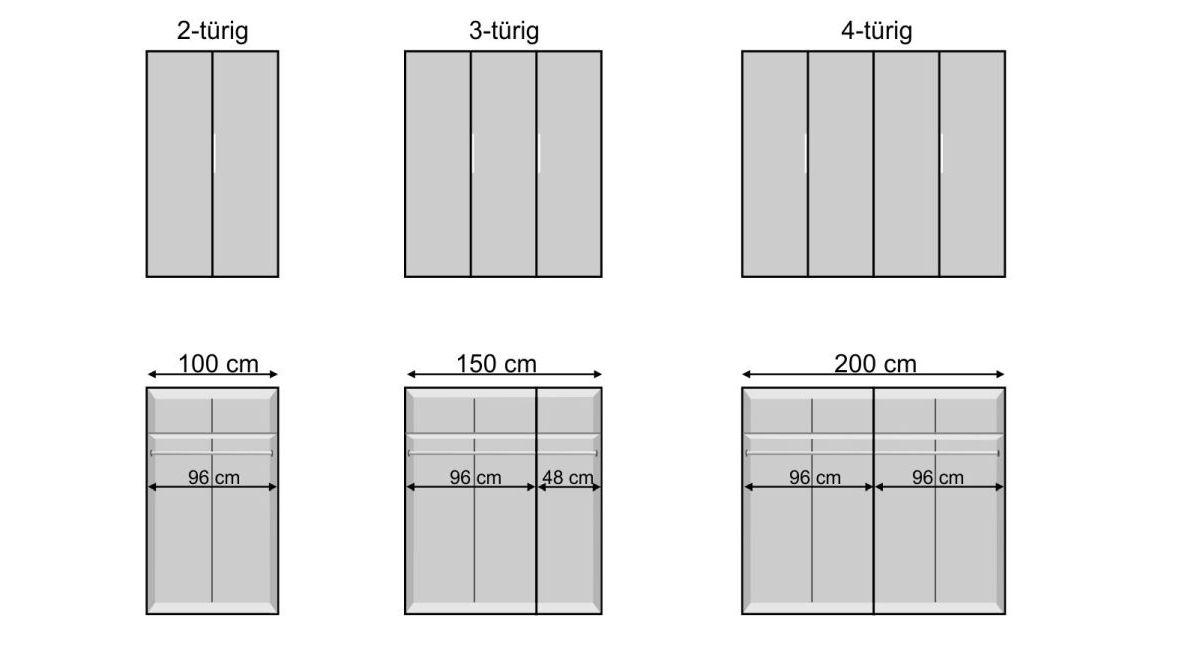 Drehtüren-Kleiderschrank Tramonti mit Grafik zu den Maßen