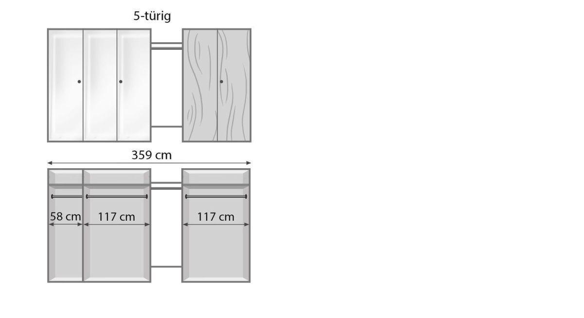 Bemaßungsgrafik zum Drehtüren Kleiderschrank Vacallo