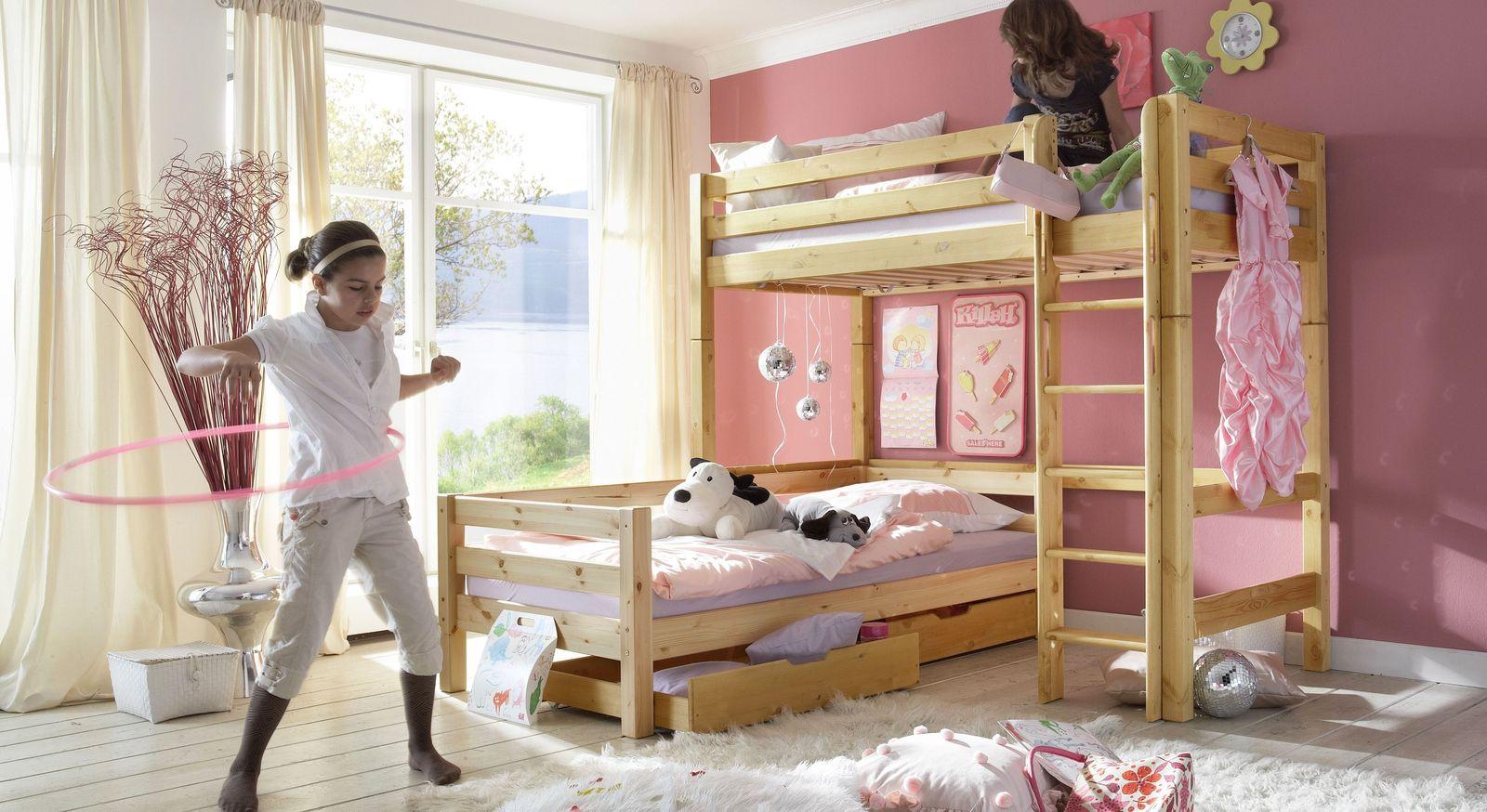 Eck-Etagenbett Kids Paradise aus natur lackierter Kiefer
