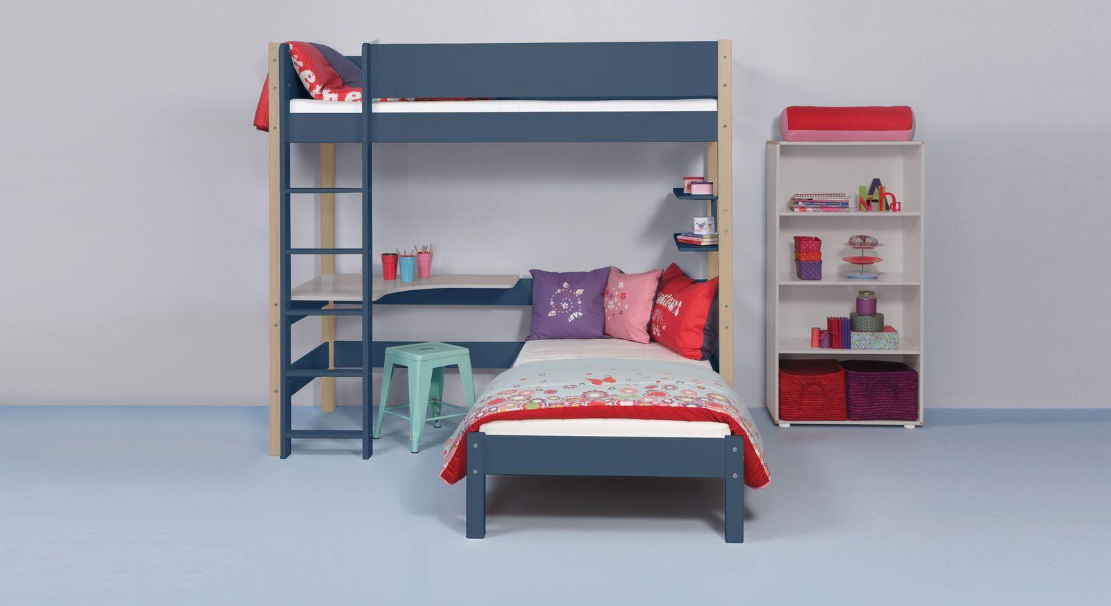 Eck-Etagenbett Kids Town Color mit Buche-Pfosten