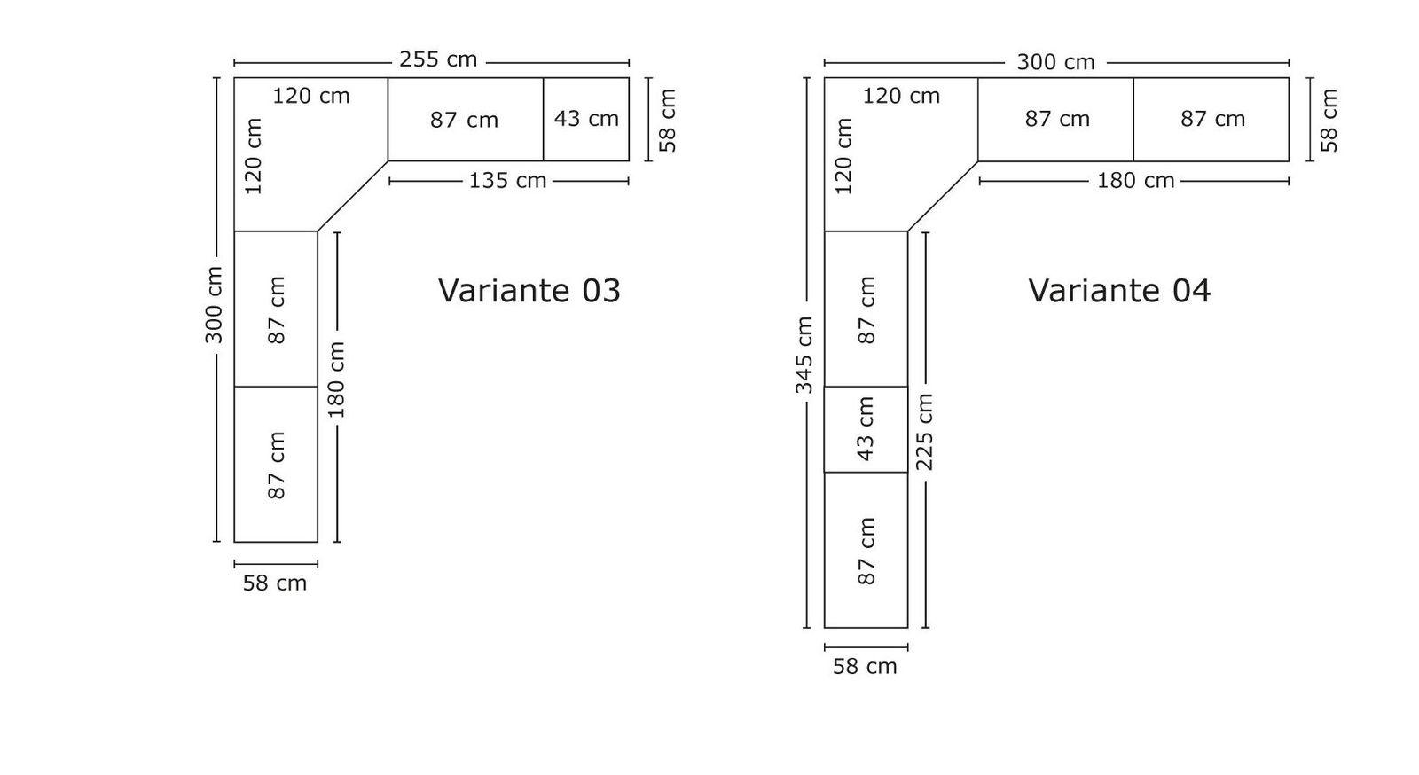 Bemaßungsgrafik zum Eck-Kleiderschrank Alvito in Variante 3 und 4