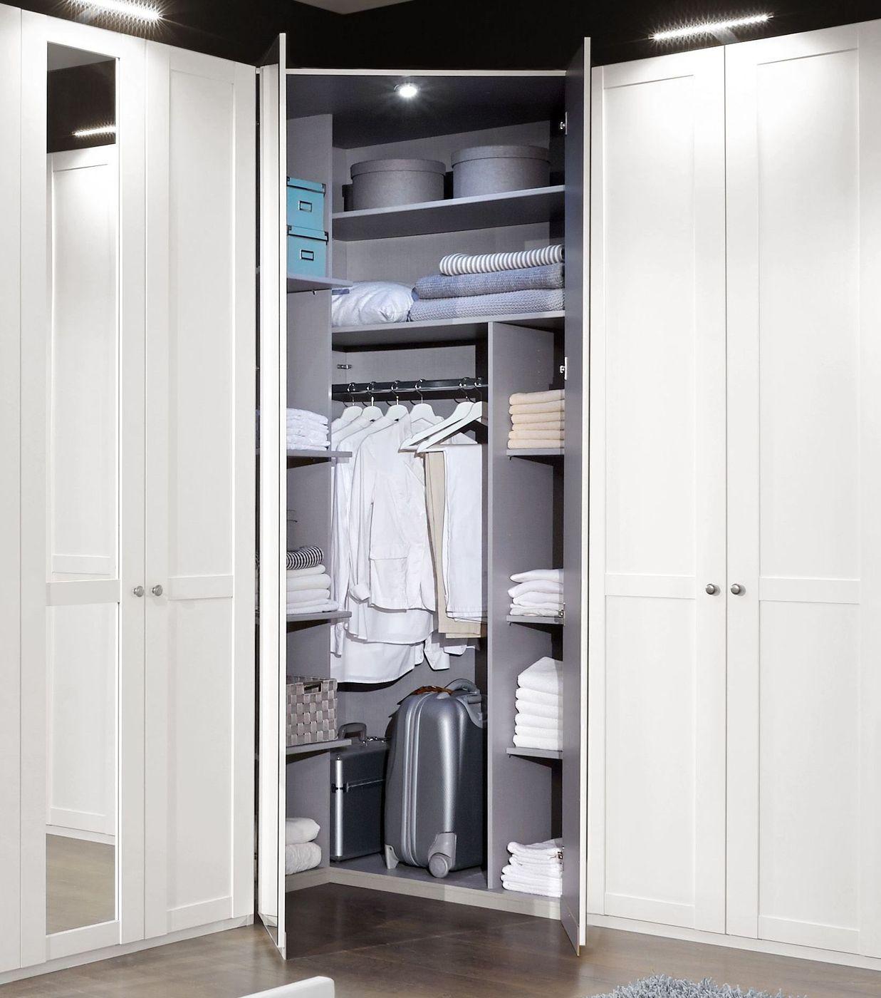 Eck Kleiderschrank mit Spiegel im modernen Landhausstil   Alvito
