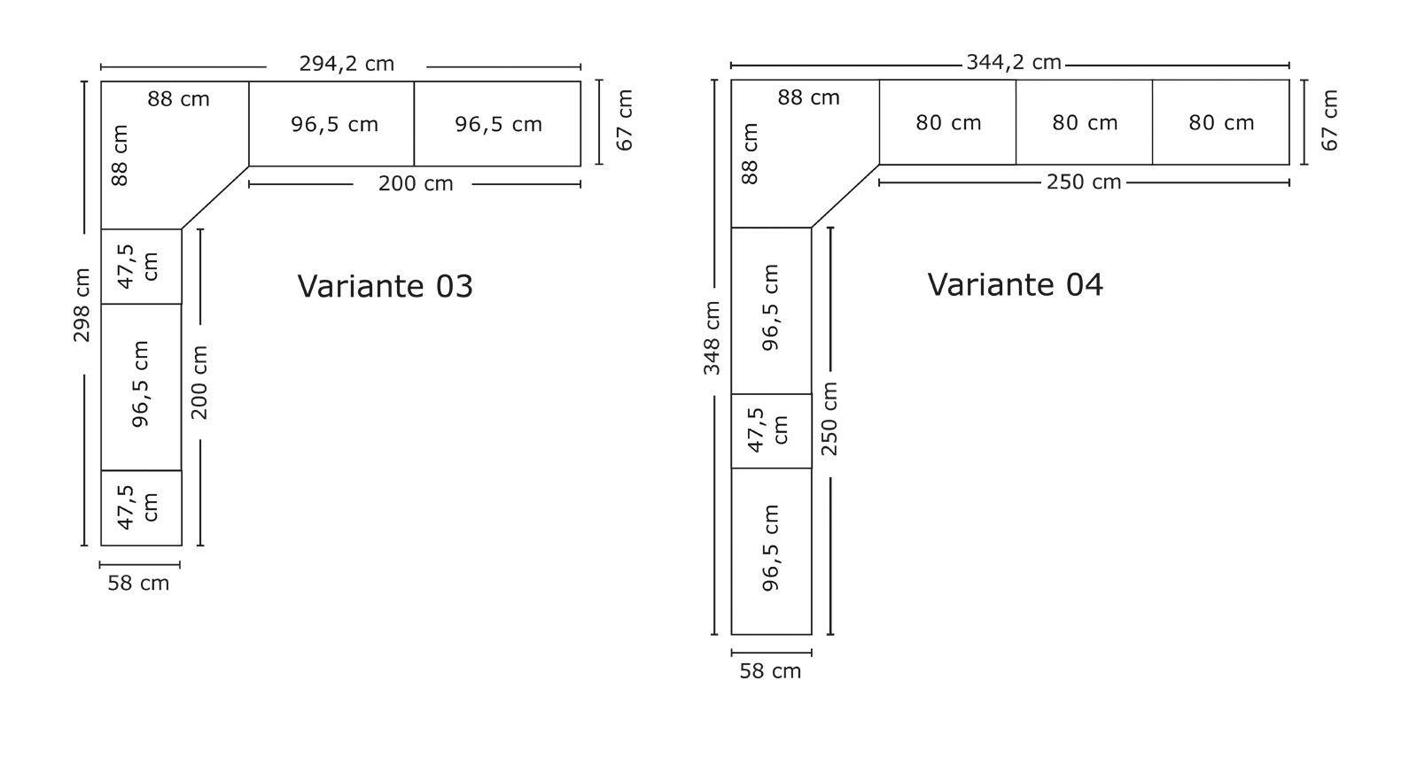Breitenansicht der Varianten vom Eck-Kleiderschrank Banga